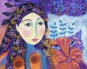 Peachy, 6 x 6ins, original mixed media painting on box canvas, wall art, folk art, girl and cat