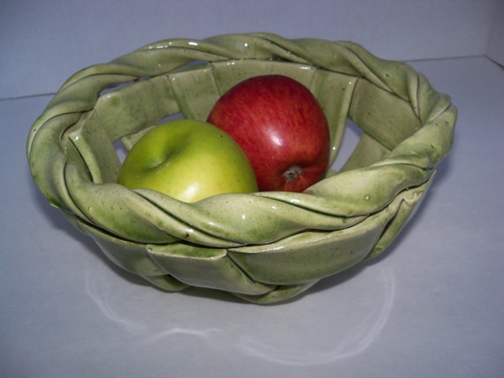 Woven Ceramic Basket Aerated Fruit Bowl Pottery Bread