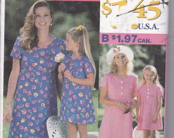 OOP New 1997 it's so easy it's Simplicity pattern 0630 Mother Daughter Dresses misses sizes 12-20 girl sizes 3-8