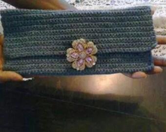 BridgeKnits™ Crochet Denim Clutch Purse