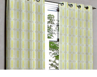Yellow Green Capsule Grommet Blackout Lined Curtain in Textured Jacquard Weave Fabric Decor and Housewares Window Treatment Drapes Panels