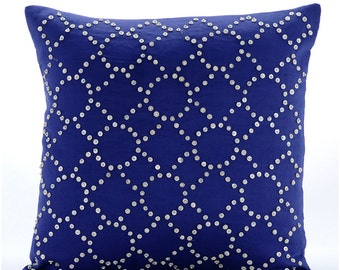 Decorative Throw Pillow Covers Accent Pillow Couch Sofa Toss Bed Pillow Case 20x20 Linen Pillow Cover Embroidered Royal Blue Illumination
