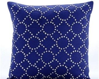 "Designer Blue Decorative Pillow Cover, Lattice Trellis Decorative Pillows Cover Square  18""x18"" Cotton - Royal Blue Illumination"