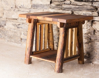 Rustic Harmony Hand Hewn Log and Reclaimed Wood End Table