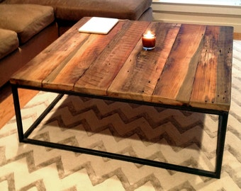 Large Square Coffee Table With Industrial Metal Base