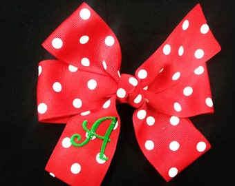 Red Polka Dot Bow, Christmas Bow, Personalized Bow, Monogrammed Hair Bow, Personalized Gift, Monogrammed Gift, Stocking Stuffer, Red Bow,