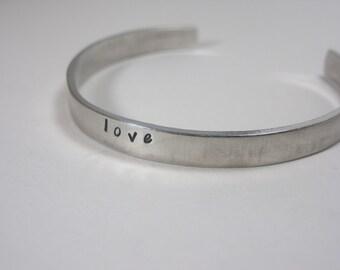 SALE Love Hand Stamped Cuff Bracelet