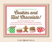 Cookies and Hot Chocolate Christmas Party Invitation (Digital File OR Printed Cardstock Cards Are Available)