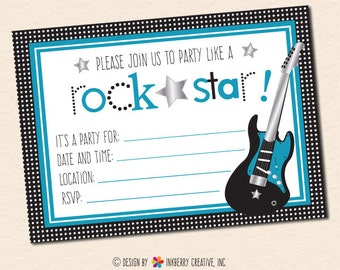 Party Like a Rockstar (Blue) Fill in the Blank Party Invitation - INSTANT DOWNLOAD PDF