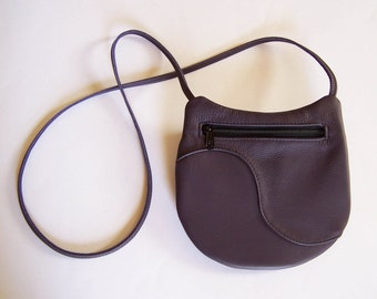 Purple Leather Purse - Crossbody Style Festival Bag - Eggplant/Purple Leather Handbag - Medium Round