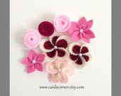 SALE, 8 Flower Combo, Felt Flower, Felt Flower for DIY Projects
