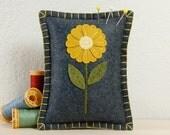 Wool Felt Pincushion • Pin Pillow • Gold Daisy • Hand Embroidered • Grey
