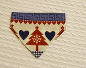 SALE  Dog Bandana with Tree Hearts & Snowflakes in SMALL Dog Collar Style READY to Ship