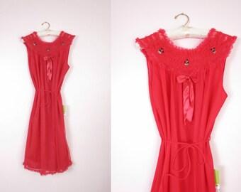 1960s Red Chiffon & Nylon Nightie Size L/XL