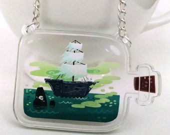 Ghost Ship in a Bottle clear acrylic charm necklace