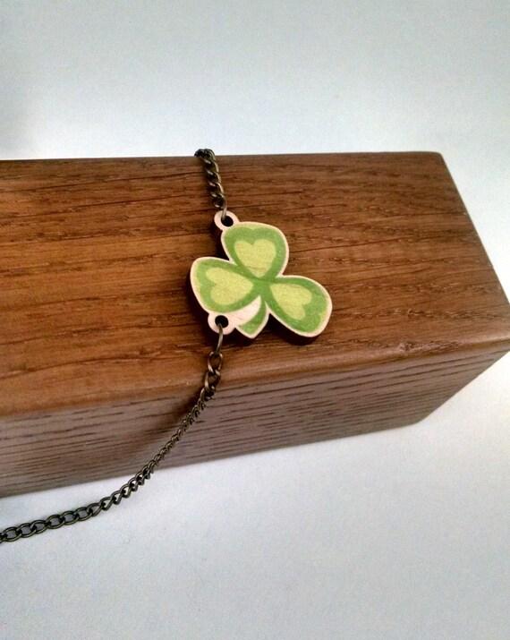 trefoil clover wood charm necklace