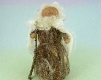 25% off SALE - Winter Maker Wool Doll Needle Felted Puppet