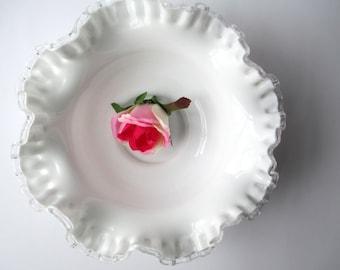 Vintage Fenton Milk Glass Silver Crest Serving Bowl, Wedding Decor, Bridal Decor
