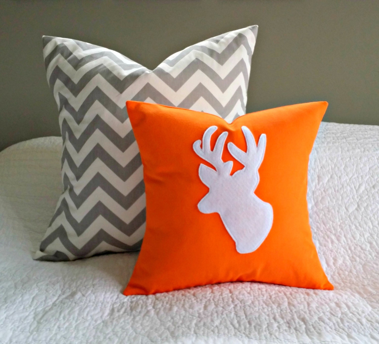 Modern Orange Pillow : Modern Orange and White Antler Throw Pillow Cover