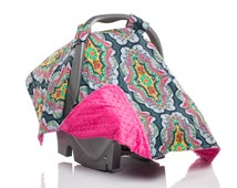 Girl Carseat Canopy, Car Seat Canopy, Carseat Cover, Baby Girl, Boho Gypsy. Hot Pink Minky, Dark Blue Navy Gold