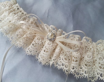 Ivory Venise Lace Bridal Garter Pearl Rhinestone Wedding  Garter