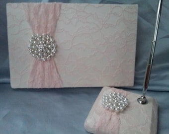 Blush Pink Ivory Lace Wedding Guest Book and Pen Set Ivory Bridal Lace Pearl Rhinestone Accent Unique Latte