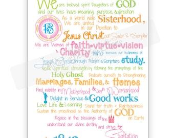 Relief Society Theme  LDS-Sisters-Temple-Moroni-Mormon-visiting Teaching- digital print