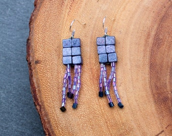 Small Purple Beaded Dangle Earrings