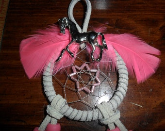 Horse Dream Catcher with HOT pink feathers