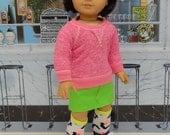 Neon Cheetah - Sweatshirt and mini skirt for American Girl
