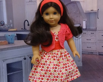Apple Pie - sundress and lace jacket set for American Girl