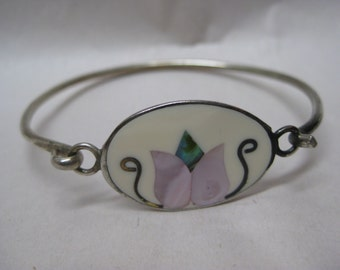 Flower White Purple Shell Bracelet Bangle Silver Blue Green Vintage
