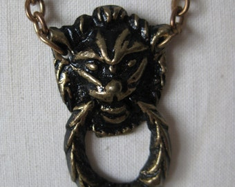 Lion Brass Necklace Vintage Pendant Dangle