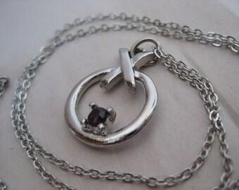 X O Black Stone Silver Necklace Vintage Pendant
