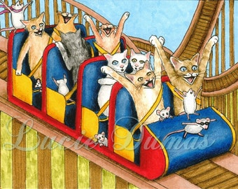 Art print 5x7 Cat 385 Roller Coasters, funny painting by Lucie Dumas