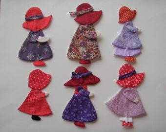 Red Hat Sunbonnet Sues Appliques for quilts          Set of 12      Item 02