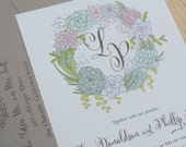 Succulent Wedding Invitation, Floral Wedding Invitation, Garden wedding invitation, Outdoor wedding DEPOSIT