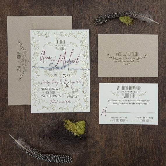 Antler Wedding Invitation, Whimsical hand drawn invitation, Antler invitation, Camp invitation, lodge invitation with monogram tag SAMPLE