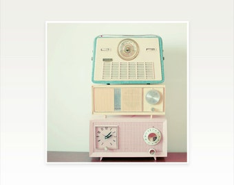 Music Art Print, Still Life Photography, Radio Print, Mid Century, Pastel Candy Colours, Retro Wall Art, Blue, Pink, Yellow - Radio Stations