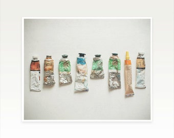 Art Studio Decor, Still Life Photography, Paint Tube Art, Rustic Wall Art, Mint and Silver, Vintage Style - Oil Paints