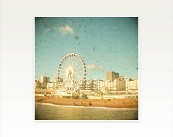 Beach Photography, Seaside Art, Ferris Wheel Art, Baby Decor, Summer, Kids Room - Brighton Wheel