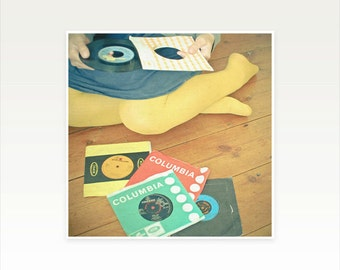 Figure Photography, Female Portrait, Retro Wall Art, Vinyl Records, Music Art, Teenage Room Decor, Preppy, Mustard Yellow - Vinyl