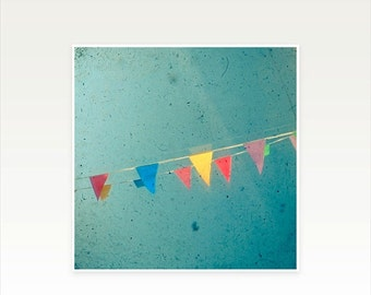 SALE 25% OFF Nursery Art, Flag Art, Carnival Photography, Kids Wall Art, Colorful Bunting, Minimalist Art, Teal, Summer Decor - The Party