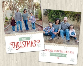 Merry Christmas Holiday Photo Card | Photoshop Templates | Great for Photographers or Scrapbookers | Instant Download | CS6025c