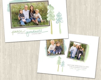 Peace and Love Holiday Photo Card   Photoshop Templates   Great for Photographers and Scrapbookers   Instant Download   CS6032c
