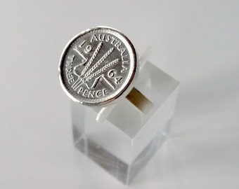 Sterling silver solid Threepence cocktail ring -Heirloom-Birthday-Anniversary ring-Handmade by Norita Designs