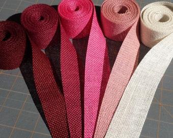1.5 inch burlap ribbon-3 yards Pink Magenta or Burgundy Burlap Ribbon