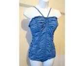 Blue 1950's Jantzen Swimsuit 50's Halter Bathing Suit