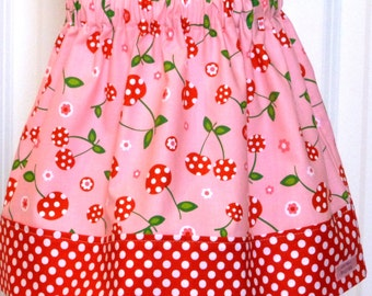 Little Girls Skirt - Olivia Skirt in Picnic Party in pink  - size 2 ready to ship