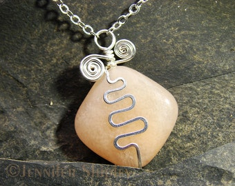 Rose Quartz Pendant Necklace: Hammered Nickel-Free Silver-Filled Wire Squiggle, Peach/Pink Gemstone, Silver Plated Chain